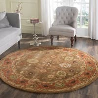 Safavieh Handmade Heritage Timeless Traditional Moss/ Rust Wool Rug - 3'6 Round