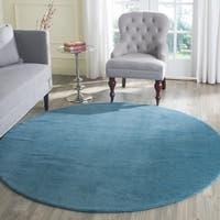 Safavieh Handmade Himalaya Solid Blue Wool Rug - 6' Round