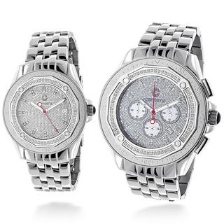 Luxurman His And Hers Centorum Matching 1.5ct TDW Diamond Stainless Steel Watch Set