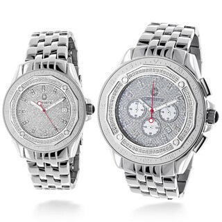 Centurvm His And Hers Matching 1.5ct TDW Diamond Stainless Steel Watch Set