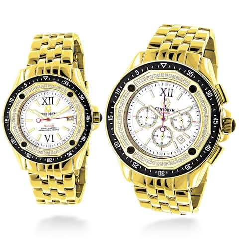 Centorum Matching His and Hers Falcon Yellow Gold Plated 1.05Ct TDW Diamond Watch Set