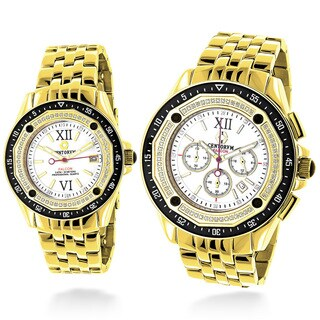 Luxurman Matching His And Hers Yellow Gold Plated 1.05ct TDW Diamond Watch Set