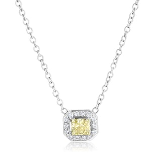 SummerRose 18k White Gold 5/8ct TDW Radiant-cut Yellow Diamond Halo Pendant Necklace