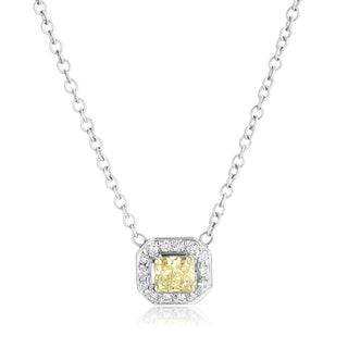 SummerRose 18k White Gold 5/8ct TDW Fancy Yellow Radiant-cut Diamond Halo Pendant Necklace (H-I, VS1-VS2)