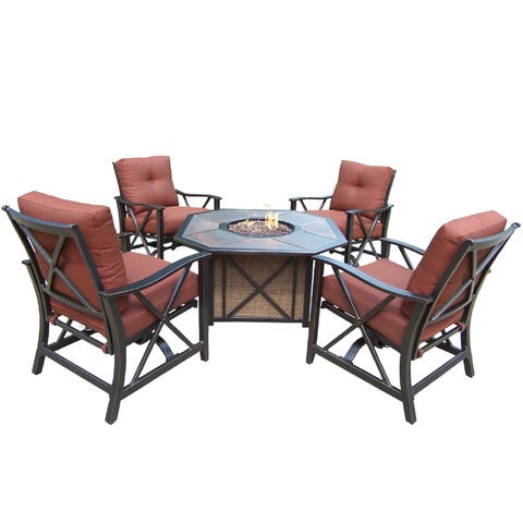 Premium Clarkston 5-piece Chat set with Porcelain Octagonal Gas Fire Pit Table and 4 Deep Rocking Chairs with Cushions in Red
