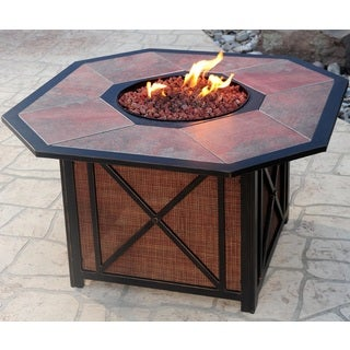 Premium Clarkston Octagonal Gas Fire Pit Table with Porcelain top, Red Lava Rock, and Aluminum Frame Red