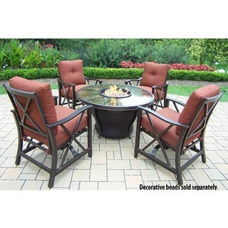 Premium Sunlight Red 5-piece Chat Set with Fiberglass Round Gas Firepit Table with Cover, Aluminum Rocking Chairs and Cushions