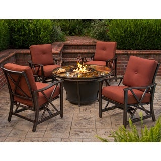 Premium Sunlight 5-piece Chat Set with Fiberglass Round Gas Fire Pit Table, Glass Beads, Cover, Rocking Chairs and Cushions