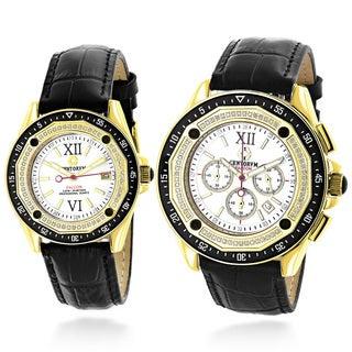 Luxurman Matching His And Hers Centorum 1.05ct TDW Diamond Black Strap Watch Set
