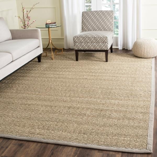 shop safavieh casual natural fiber natural grey seagrass area rug 9 39 x 12 39 on sale free. Black Bedroom Furniture Sets. Home Design Ideas