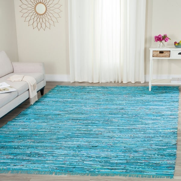 Safavieh Hand-Woven Rag Turquoise/ Multi Cotton Rug - 8' x 10'