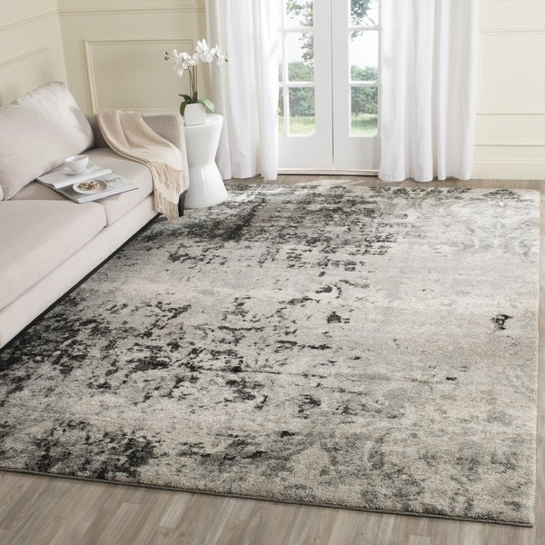 Safavieh Retro Modern Abstract Light Grey / Grey Distressed Rug - 8' x 10'