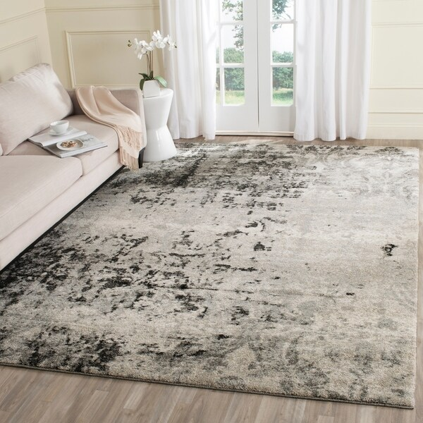 Safavieh Retro Modern Abstract Light Grey Distressed Rug 8 X27