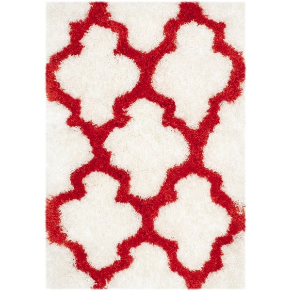 "Safavieh Handmade Barcelona Shag White/ Rust Trellis Polyester Rug - 2'3"" x 4'"