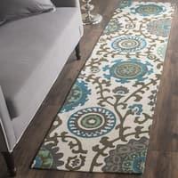 Safavieh Handmade Cedar Brook Ivory/ Light Blue Cotton Rug (2' x 6') - 2' x 6'