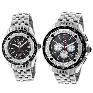 Centorvm His And Hers Falcon Chronograph 1.05ct TDW Diamond Black Watch Set