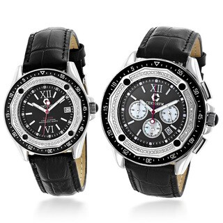 Centorvm His And Hers Falcon 1.05ct TDW Diamond Black Watch Set