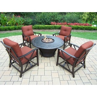 Premium Carolton 5-piece Chat set with 48-inch Round Fire Pit Table, Burner system, Cover, 4 Rocking Chairs, and Cushions