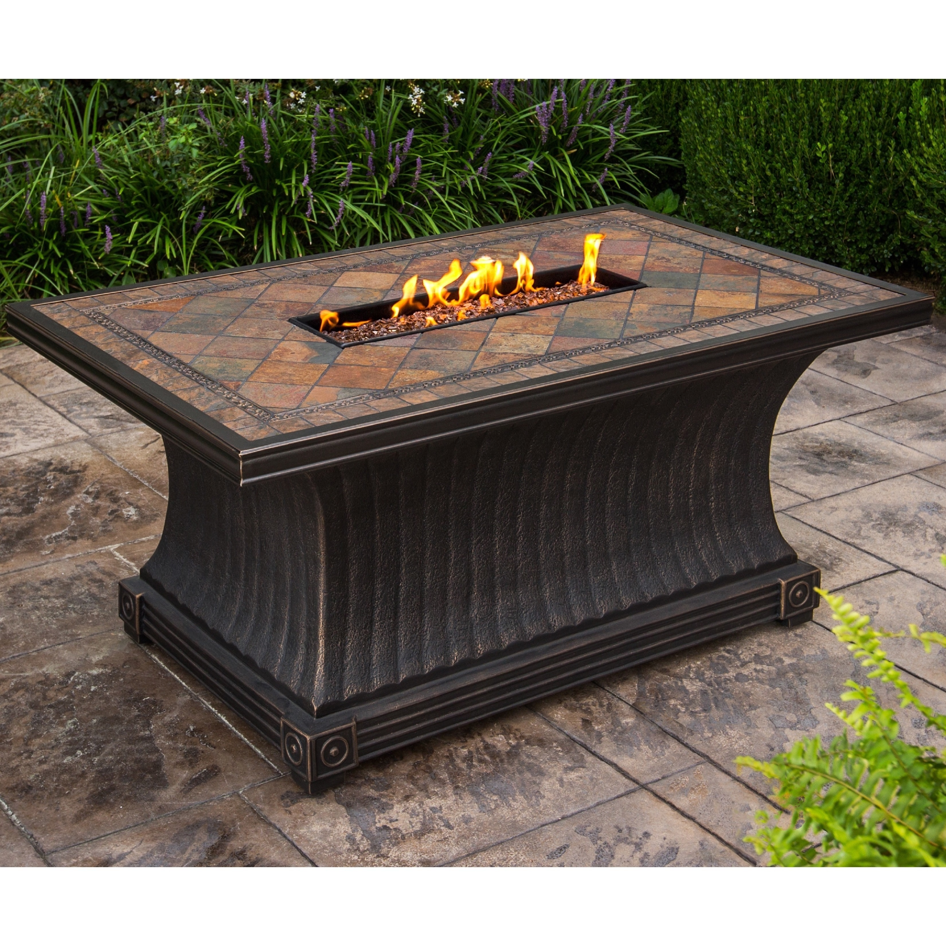 Cascadian Rectangular Slate Topped Gas Firepit Table With Red Lava Rock Strip Burner And Weather Cover Overstock 11020175