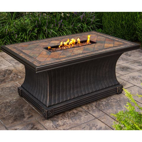 Cascadian Rectangular Slate Topped Gas Firepit Table, with Red Lava Rock Strip Burner, and Weather Cover