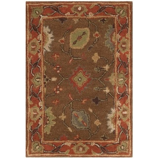 Safavieh Handmade Heritage Timeless Traditional Moss/ Rust Wool Rug (2' x 3')