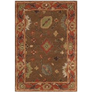 Safavieh Handmade Heritage Timeless Traditional Moss/ Rust Wool Rug (2' x 3')