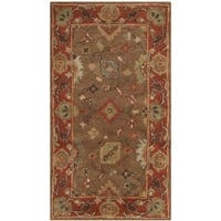 Safavieh Handmade Heritage Timeless Traditional Moss/ Rust Wool Rug - 2'3 x 4'