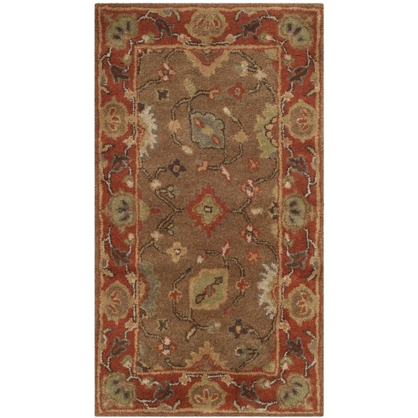 Safavieh Handmade Heritage Timeless Traditional Moss/ Rust Wool Rug (2'3 x 4')