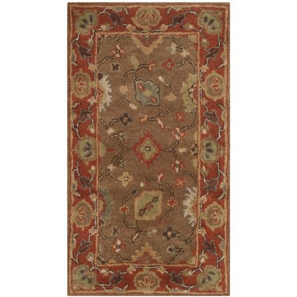 "Safavieh Handmade Heritage Timeless Traditional Moss/ Rust Wool Rug - 2'3"" x 4'"