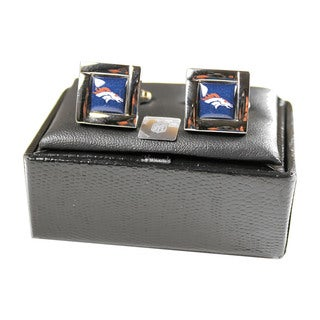 NFL Square Engraved Logo Cufflinks Gift Box Set