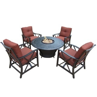 Premium Carolton 5-piece Chat set with Round Firepit Table, Glass Beads, Cover, 4 Rocking Chairs and Cushions