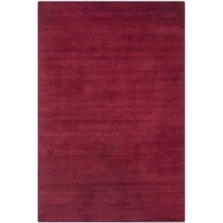 Safavieh Handmade Himalaya Solid Red Wool Rug (2' x 3')