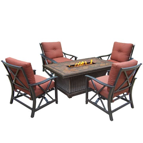 5-piece Gas Firepit Table Chat Set with 4 Cushioned Rocking Chairs