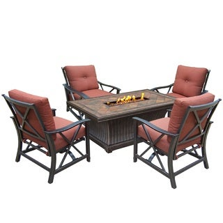 Florence Premium 5-piece Red Lava Rock Gas Firepit Table Chat Set with 4 Cushioned Rocking Chairs