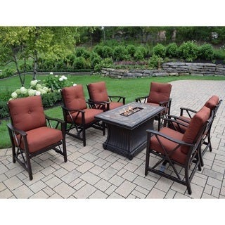 7 pc Red Lava Rock Gas Firepit Table with 6 Cushioned Rocking Chairs