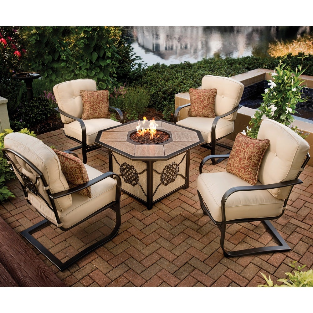 Oakland Living Corporation Premium Memorial 5-piece Porcelain Octagon Gas Firepit Table Chat Set with 4 Cushioned Chairs