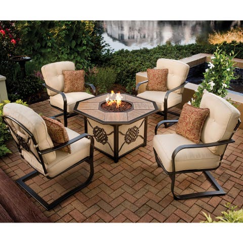 Premium Memorial 5-piece Porcelain Octagon Gas Firepit Table Chat Set with 4 Cushioned Chairs