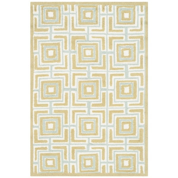 Safavieh Hand-hooked Newport Olive/ Light Blue Cotton Rug (2' x 3')