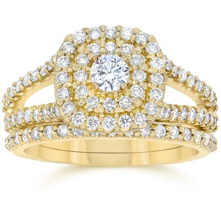 10k Yellow Gold 1 1/ 10 ct TDW Diamond Cushion Halo Engagement Ring Set