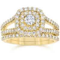 10k Yellow Gold 1 1/ 10 ct TDW Diamond Cushion Halo Engagement Ring Set
