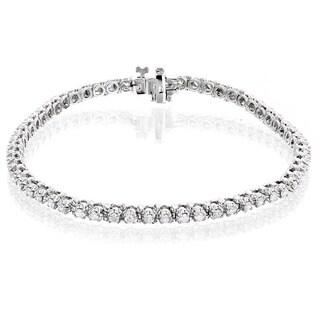 Luxurman 14k Gold 1 1/2ct TDW Round Diamond Tennis Bracelet (H-I, SI1-SI2)