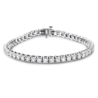 Luxurman 18k Gold 6 3/4ct TDW Diamond Inline Round Tennis Bracelet (F-G, VS1-VS2)