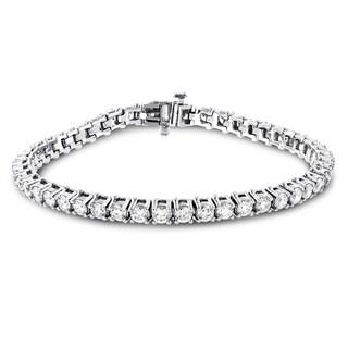 Luxurman 18k Gold 6 3/4ct TDW Diamond Inline Round Tennis Bracelet