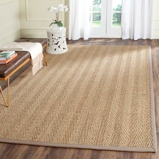 Safavieh Casual Natural Fiber Hand-Woven Natural / Grey Seagrass Rug (6' Square)