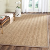 Safavieh Casual Natural Fiber Hand-Woven Natural / Grey Seagrass Rug - 6' Square