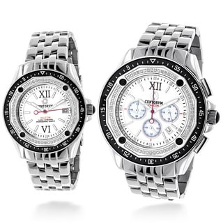 Luxurman Matching His And Hers Watches: Centorum 1ct TDW Diamond Chronograph Watch Set