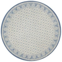 Safavieh Hand-hooked Wilton Ivory/ Light Blue New Zealand Wool Rug - 4' Round
