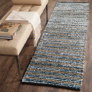 Safavieh Cape Cod Handmade Blue / Natural Jute Natural Fiber Rug (2'3 x 6')