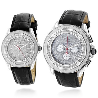 Luxurman His And Hers Centorum Matching 1.05ct TDW Diamond Black Leather Strap Watch Set