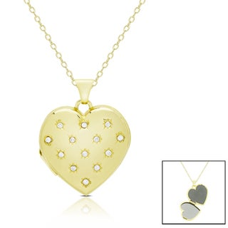 Finesque 14k Gold 1/10 ct TDW Diamond Heart Locket Necklace